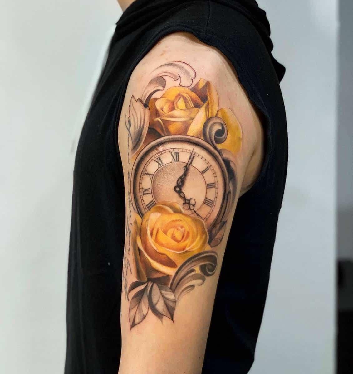 Realistic Yellow Rose Tattoo -shu_tattooart