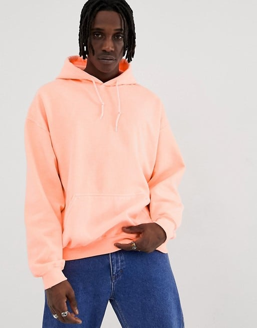 reclaimed vintage inspired oversized hoodie in fluorescent orange