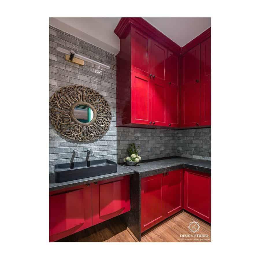 Red Kitchen Cabinet Color Ideas kdesignstudioindia
