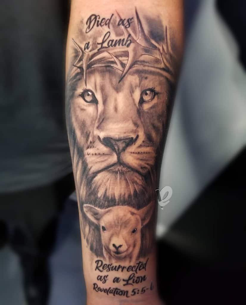 Religious Lion and Lamb Tattoo edsta1