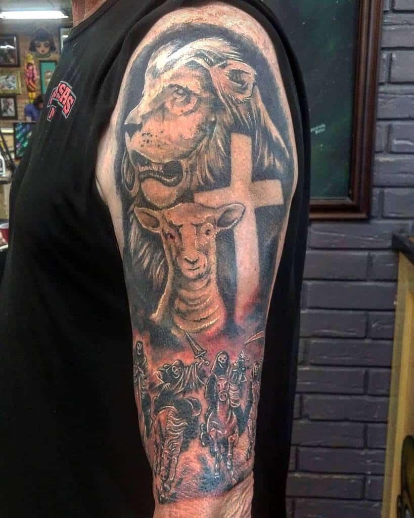Religious Lion and Lamb Tattoo mikebarentine
