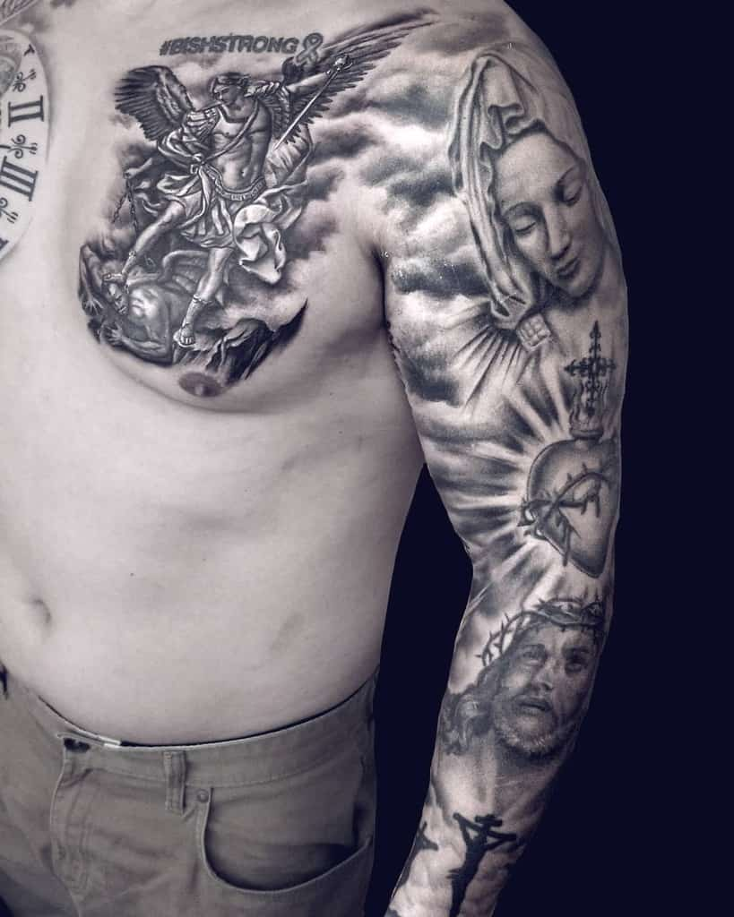 Religious Tattoo Sleeve Filler angelotattooartist