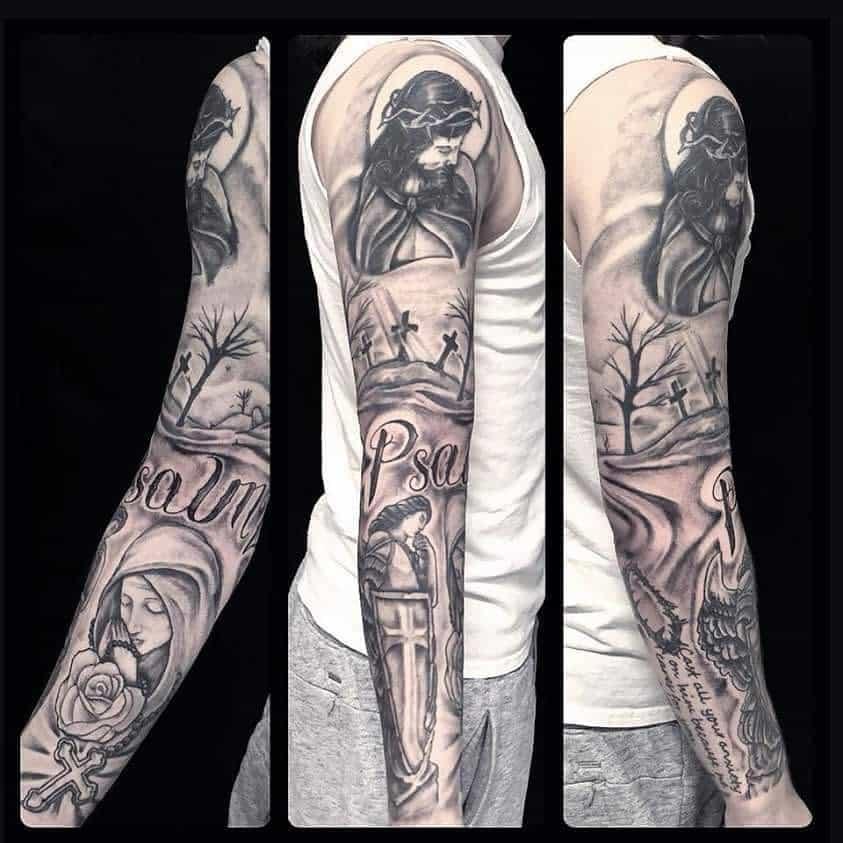 Religious Tattoo Sleeve Filler triedandtruetattooco