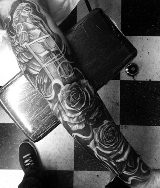 Religious Roses Tattoo Male Sleeves