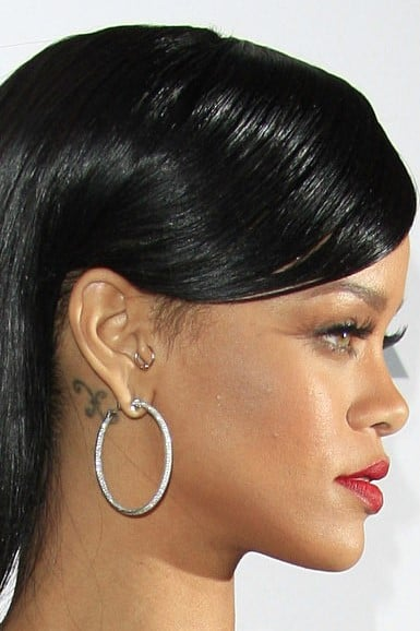 Rihanna Pisces Tattoo Behind Right Ear