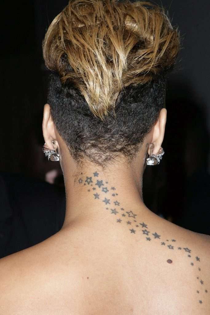 Rihanna Trailing Stars Tattoo Back Of Neck