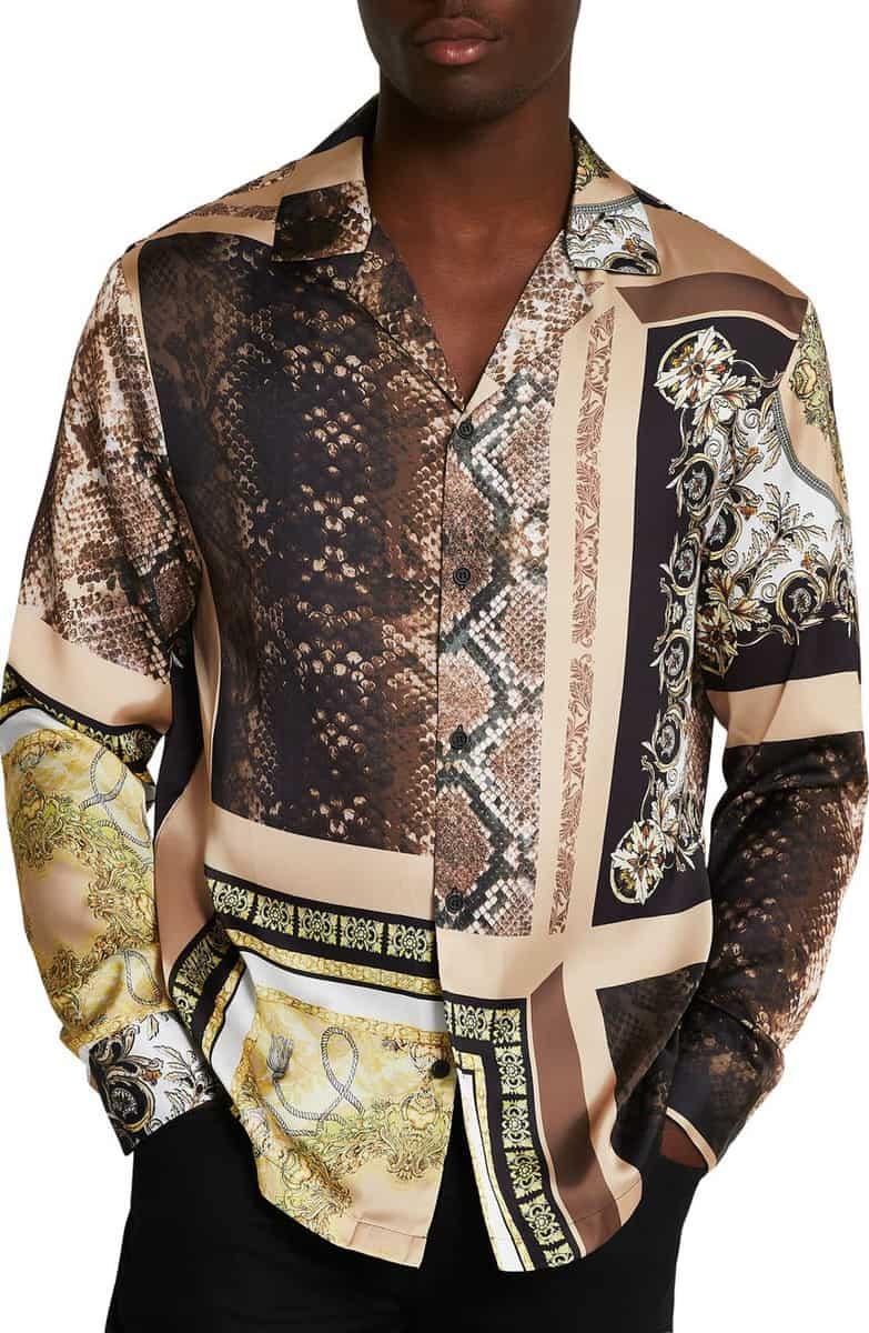 River Island Revere Snake Baroque Splice Button Up Shirt