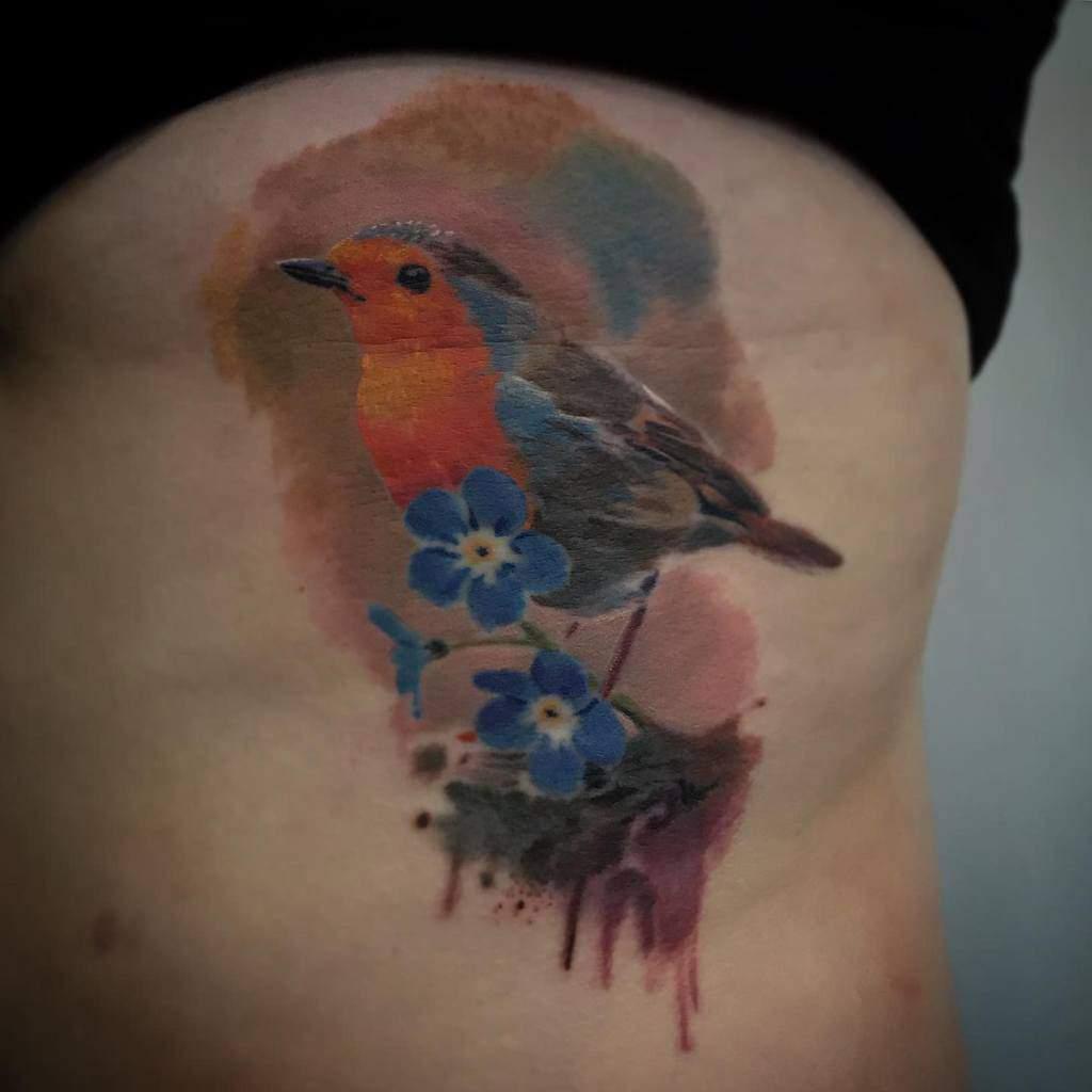 Robin Watercolor Tattoo George Torrington Art