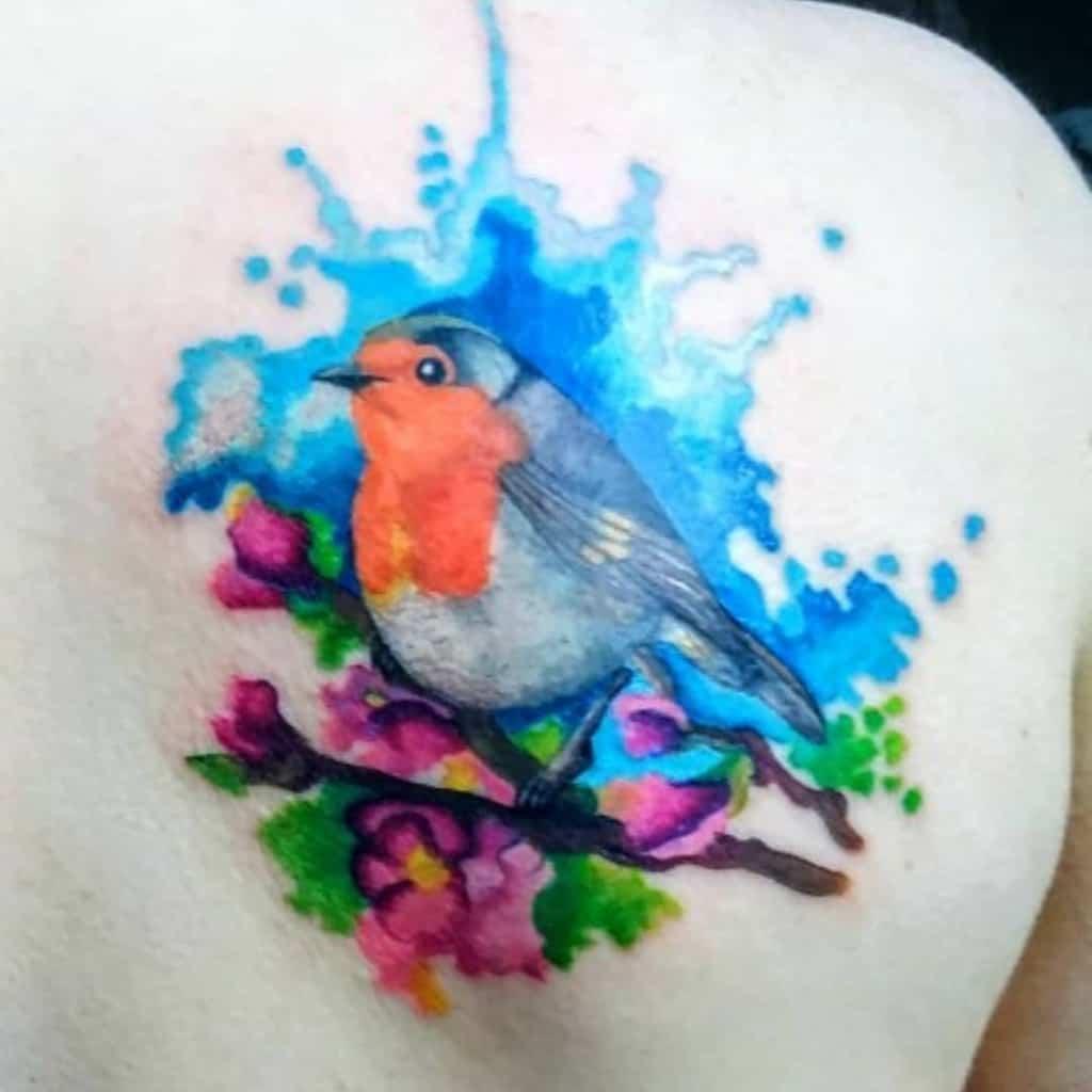 Robin Watercolor Tattoo Katelijnelaurens