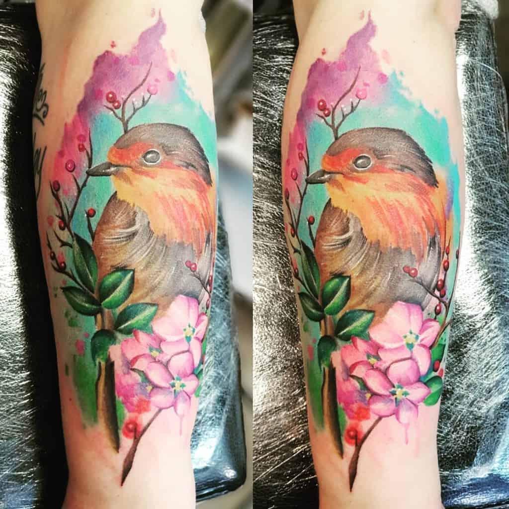 Robin Watercolor Tattoo Sunflowerink Tattoos