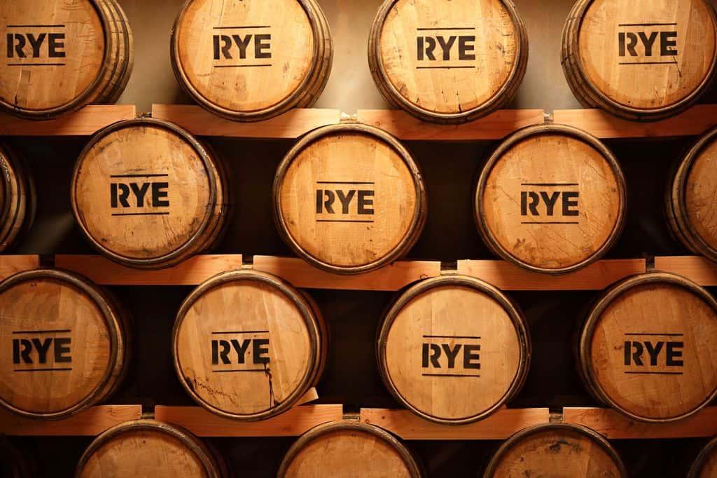 Rye Whiskey in Barrels