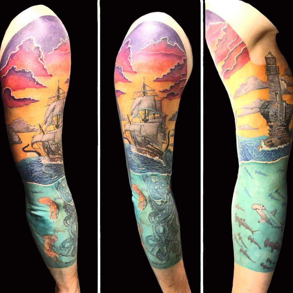 sleeve-inked-sunset-realistic-octopus-wave-ocean-tattoo-k_ink_tattoo