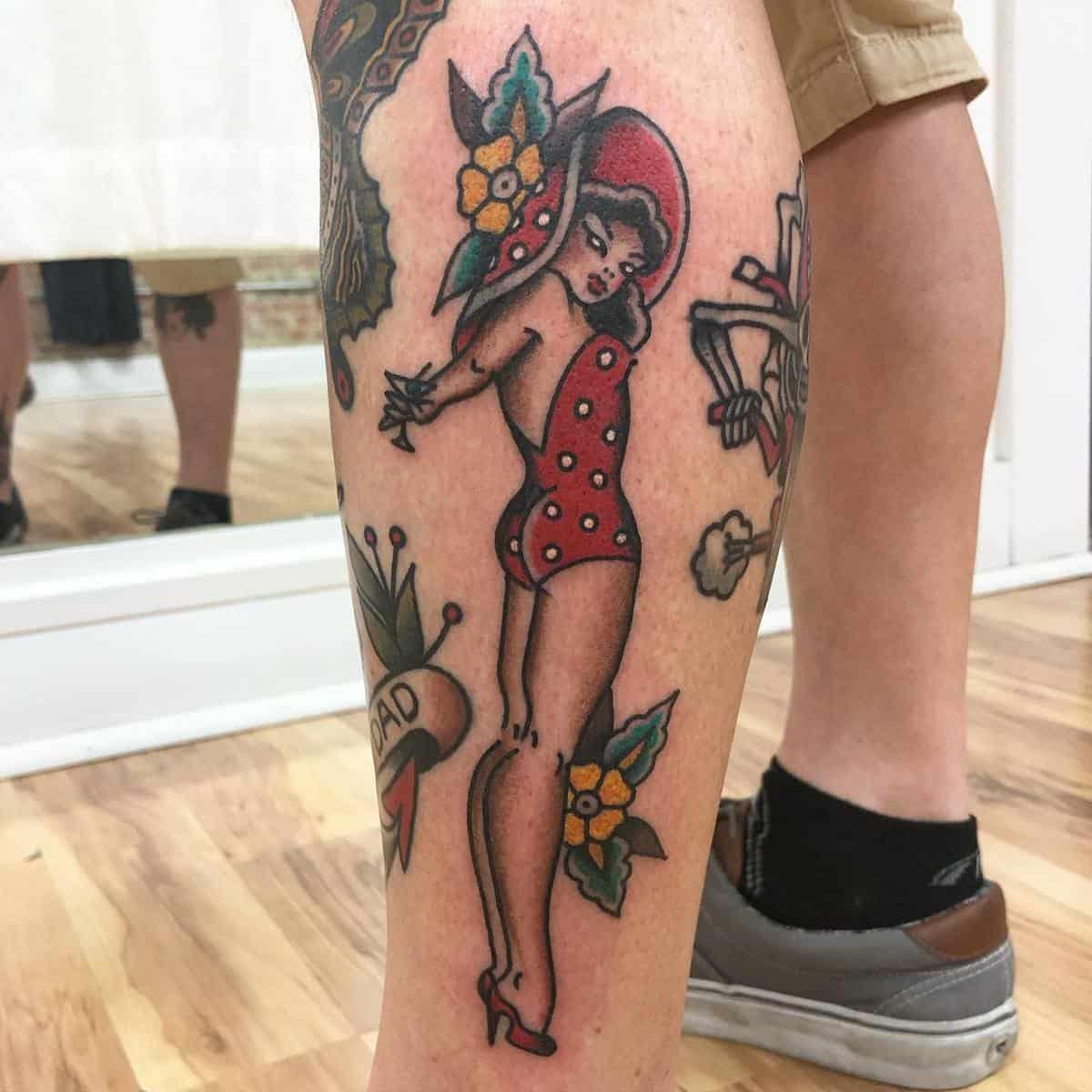 Sailor Jerry Pin Up Girl Tattoo -lukeworleytattoo