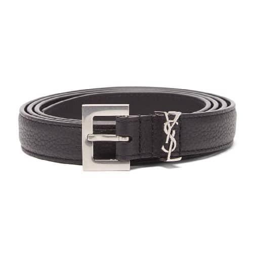 Saint Laurent YSL-plaque Grained-leather Belt