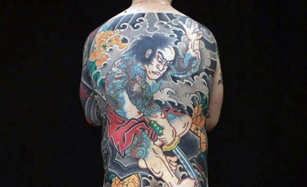 Samurai And Violence Tattoo Mens Full Back