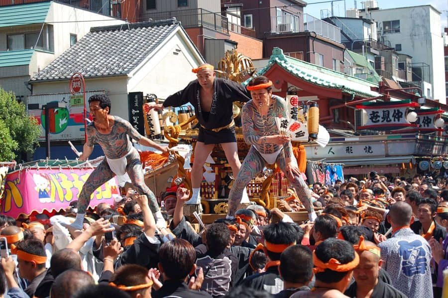 Sanja Matsuri Festival Float Tattooed Yakuza