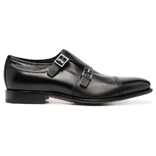 Santoni-Double-buckle-Leather-Shoes