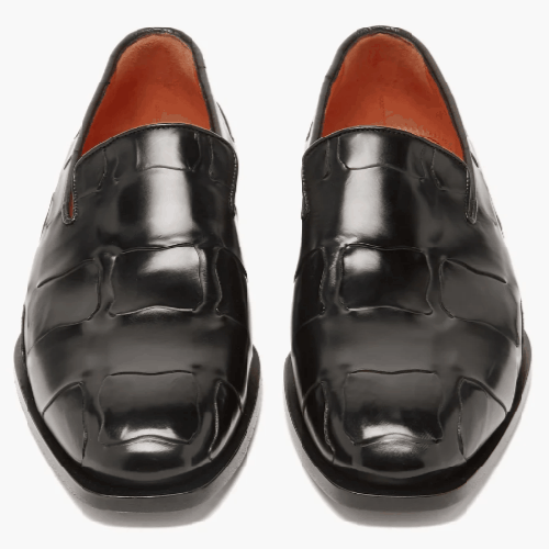 Santoni Woven-Effect Leather Loafers