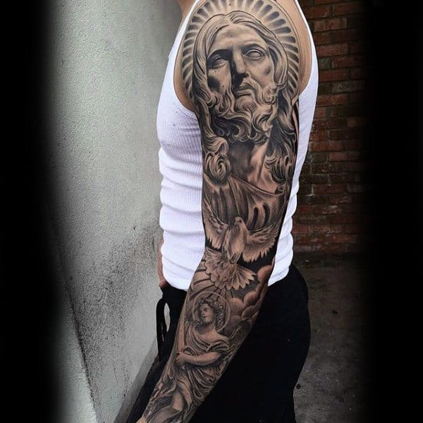 Saviour And Peace Dove Religious Tattoo Male Full Sleeves