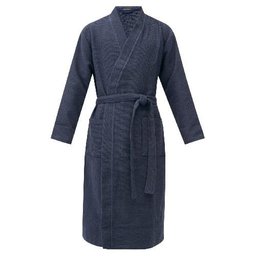 Schiesser Belted Cotton Waffle-Pique Robe