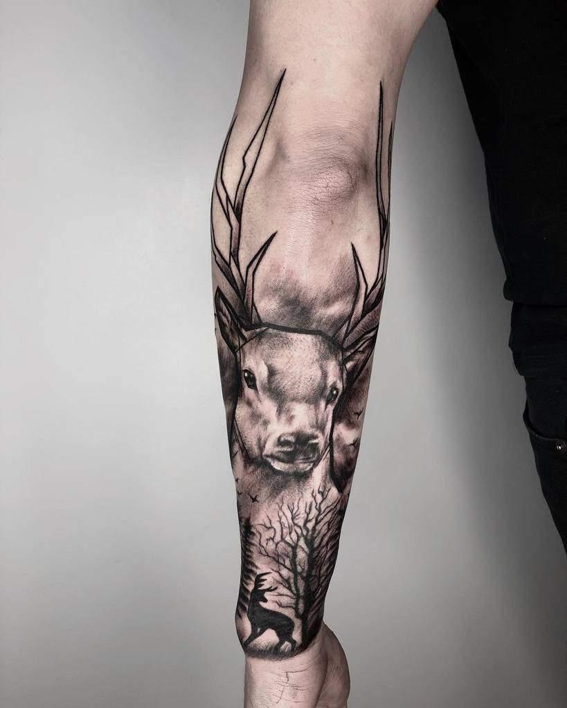 Scottish Stag Tattoo Bethmaddoxtattoos