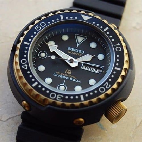 "Seiko 7549-7009 ""Golden Tuna"" 600m Professional Quartz Diver"