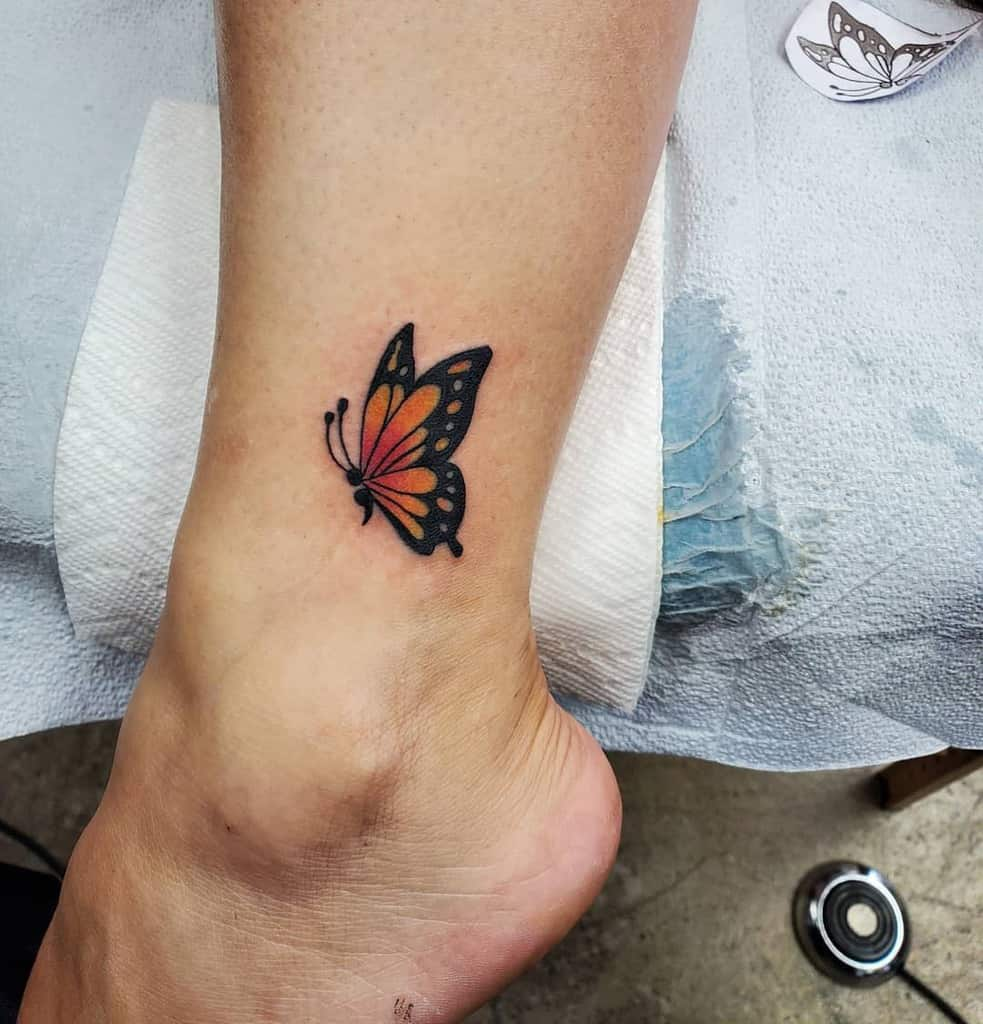 Semicolon Butterfly Ankle Tattoo downztattoos34