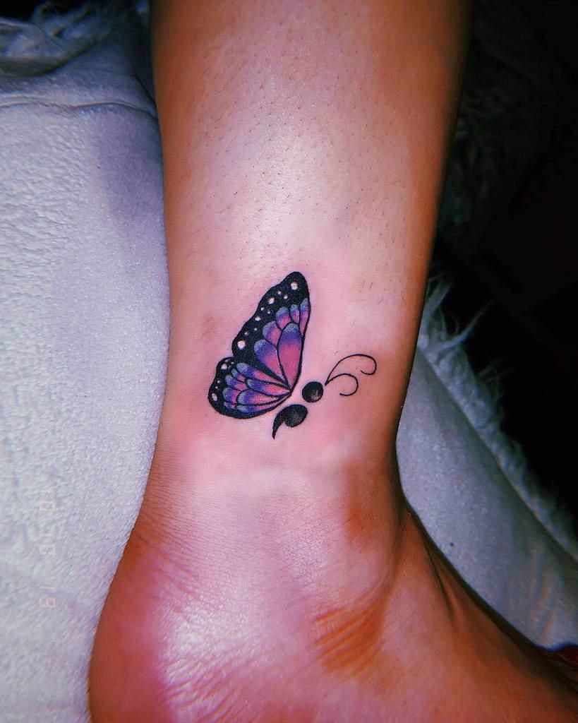 Semicolon Butterfly Ankle Tattoo ladiabla.ink