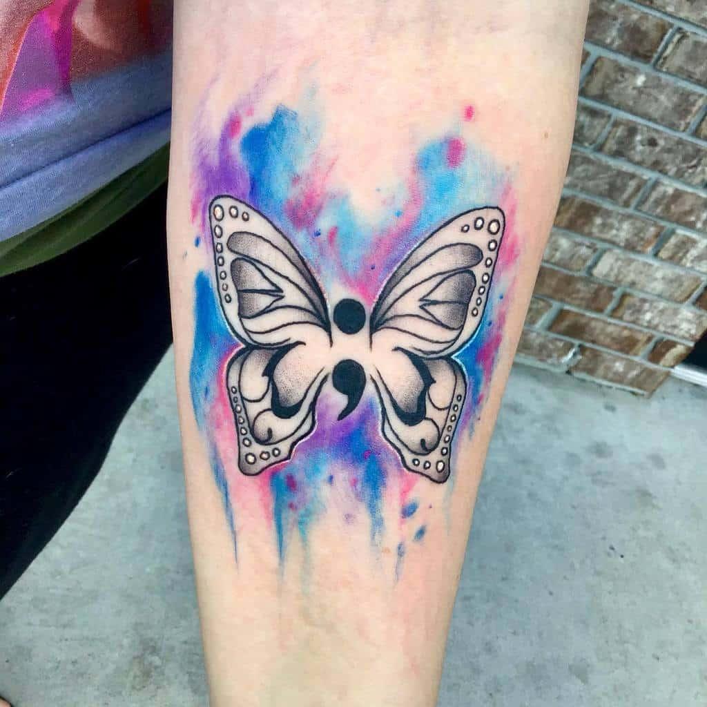 Semicolon Butterfly Forearm Tattoo jennpduckytattoos