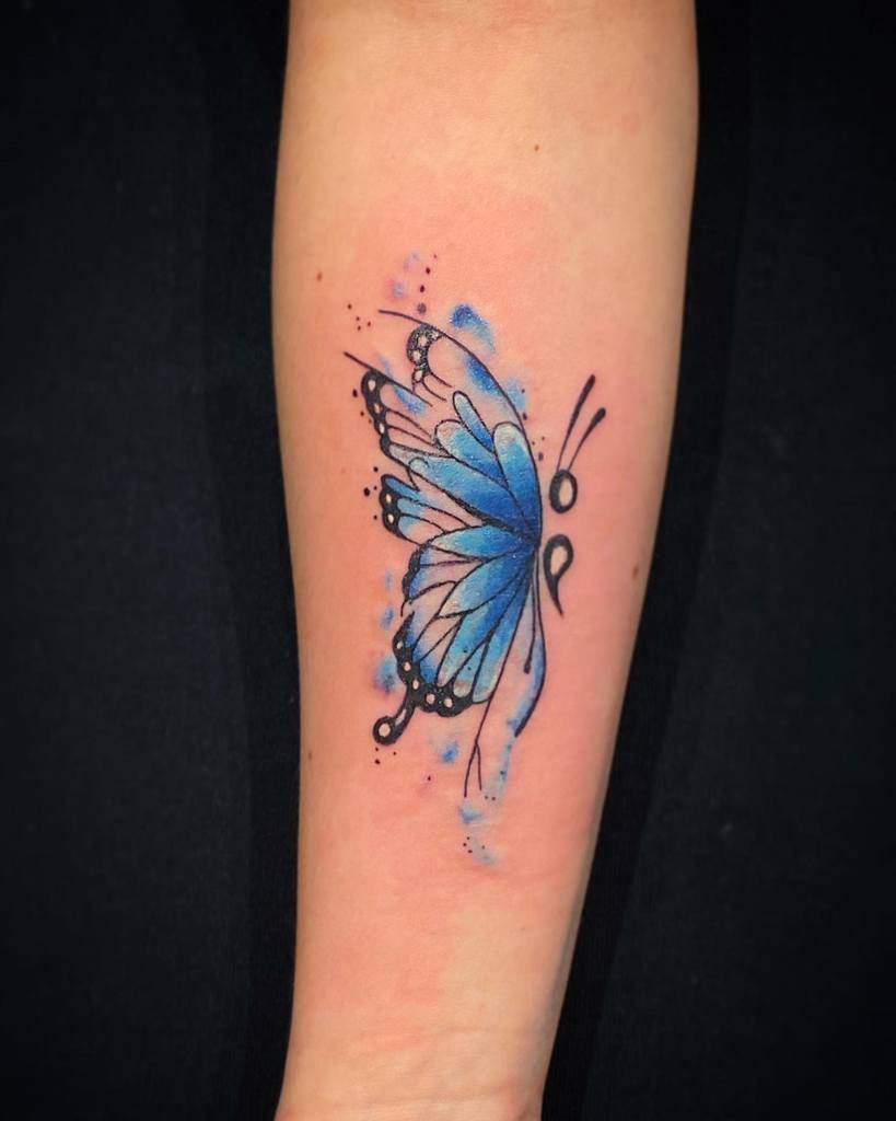Semicolon Butterfly Forearm Tattoo rashatattoo
