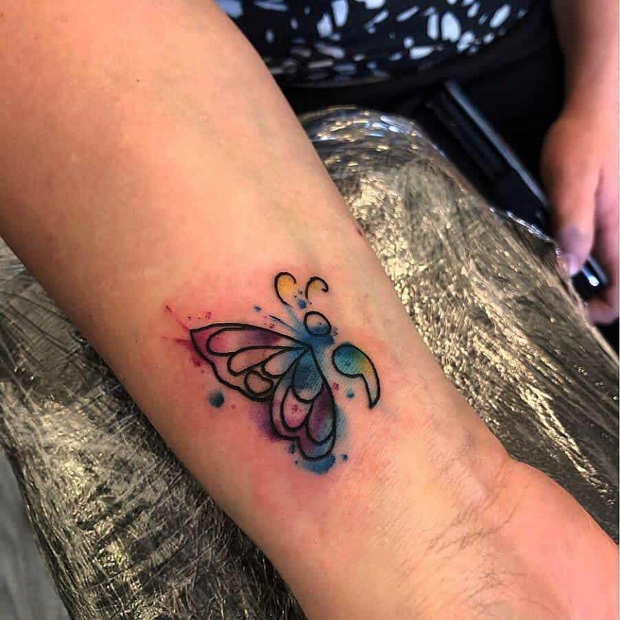 Semicolon Butterfly Wrist Tattoo jjtattoosx