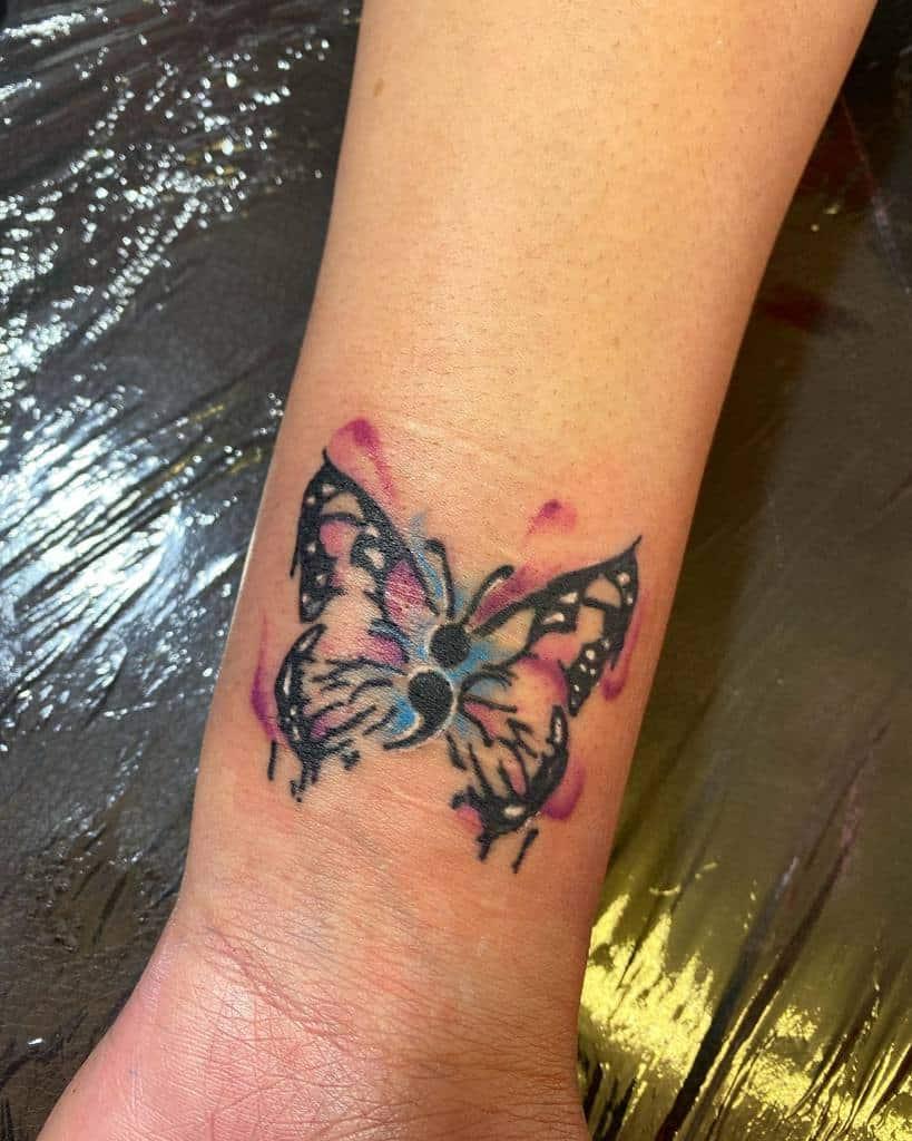 Semicolon Butterfly Wrist Tattoo lenz_ink