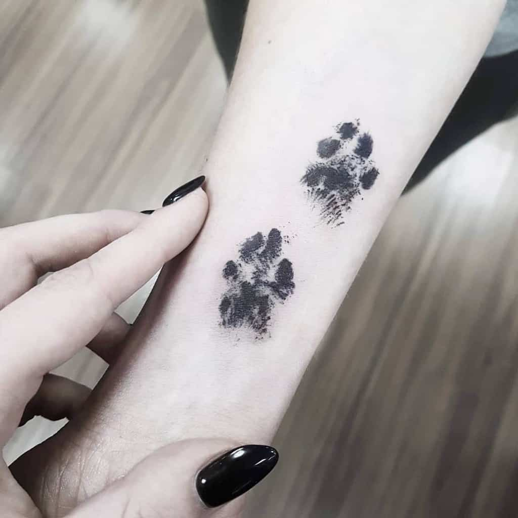 Shaded Cat Paw Print Tattoo rysaatattoo