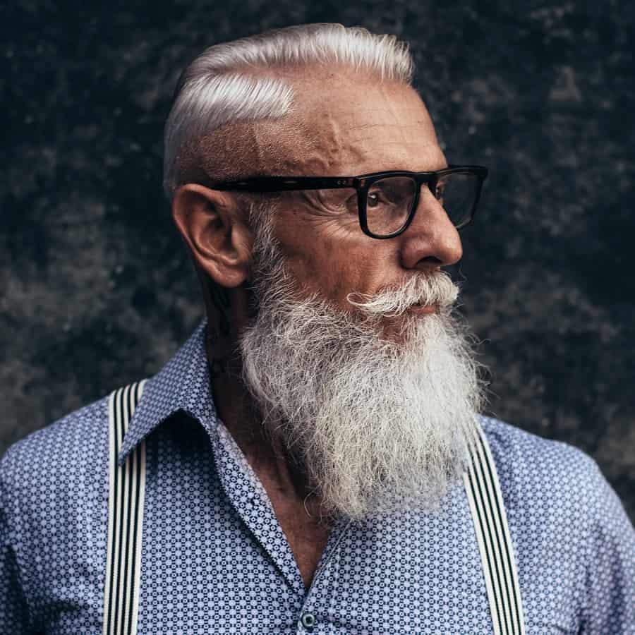 Short Gray Hair And Long Beard