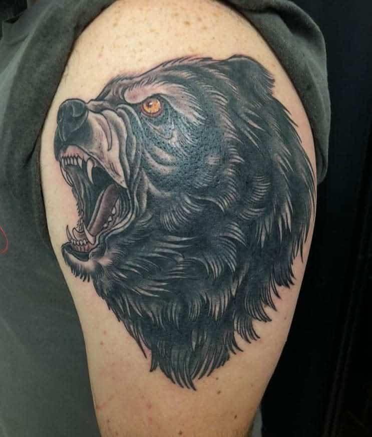 Shoulder Black Bear Tattoo boldstatementtattoos