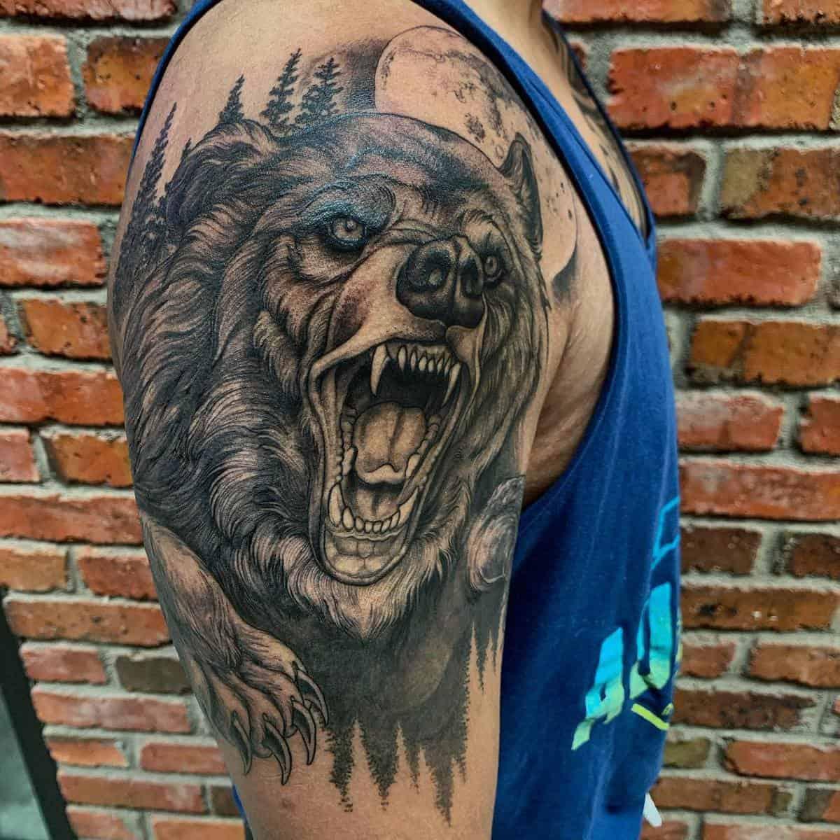 Shoulder Black Bear Tattoo electricdreamscollective