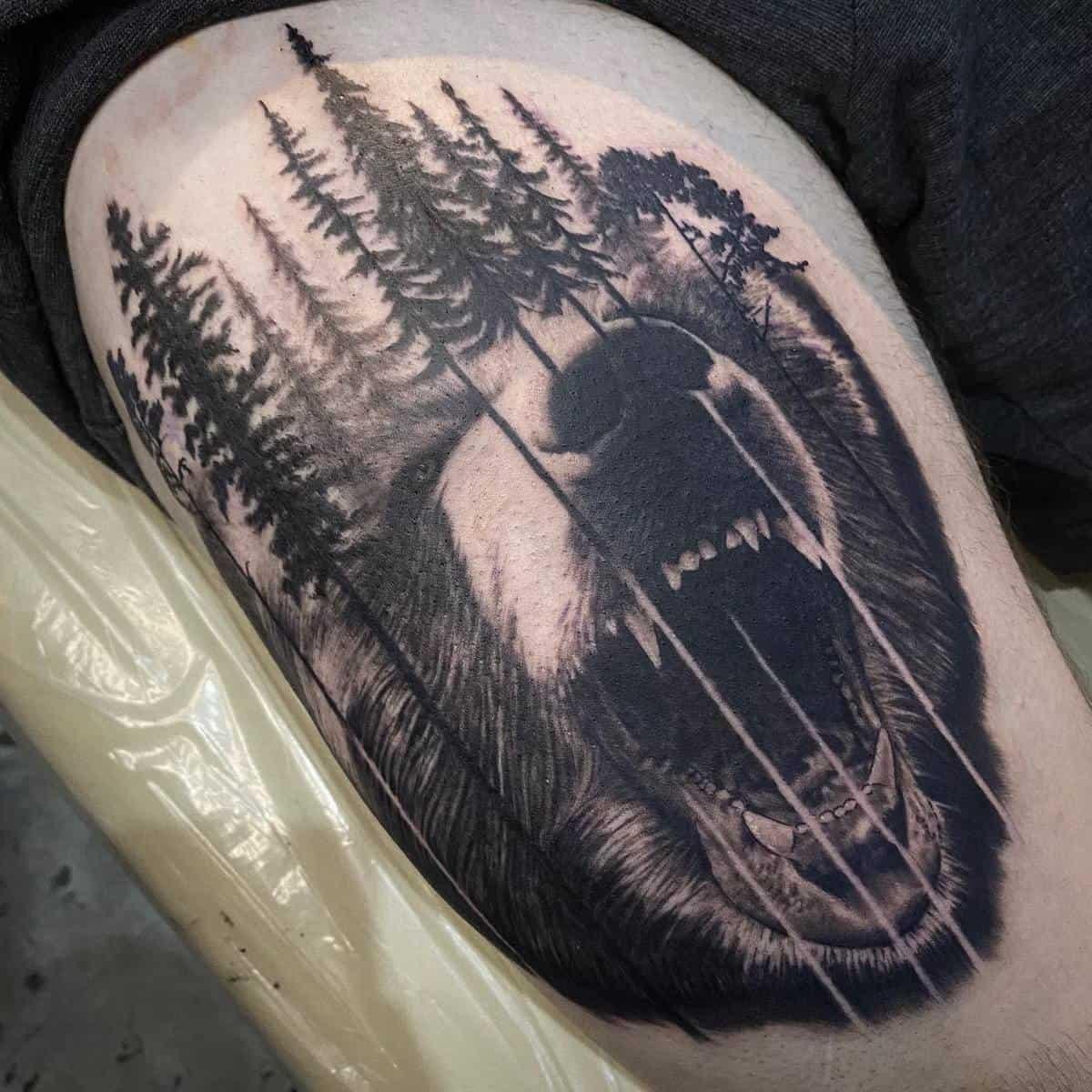 Shoulder Black Bear Tattoo holytomo