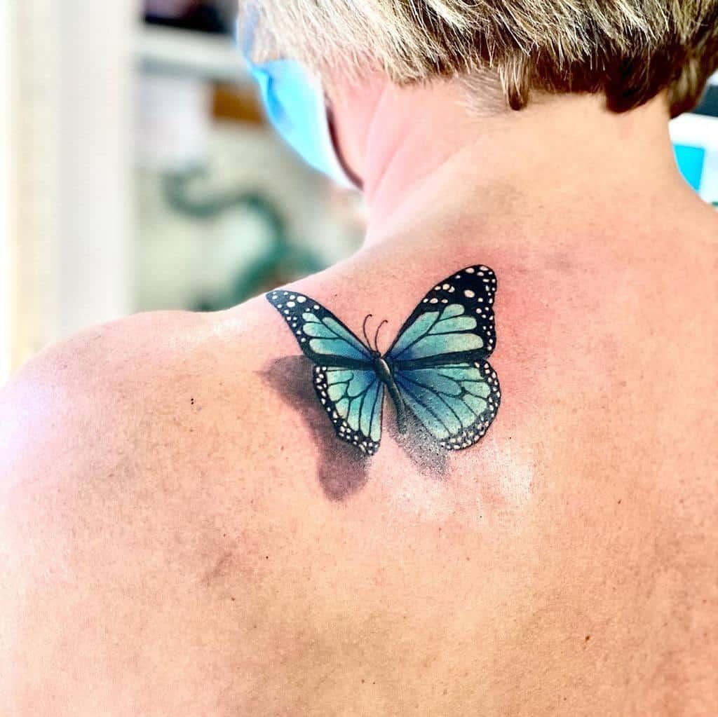 Shoulder Blue Butterfly Tattoos inkscapetattoo