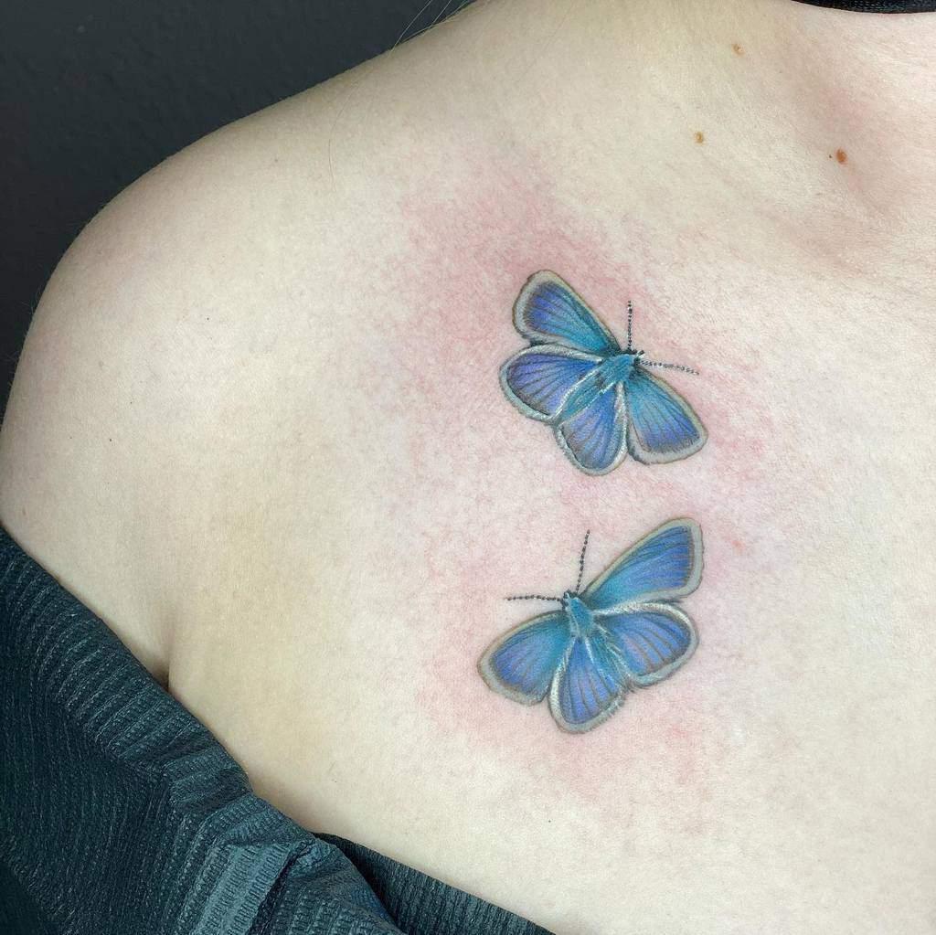 Shoulder Blue Butterfly Tattoos rudiredmantattoo