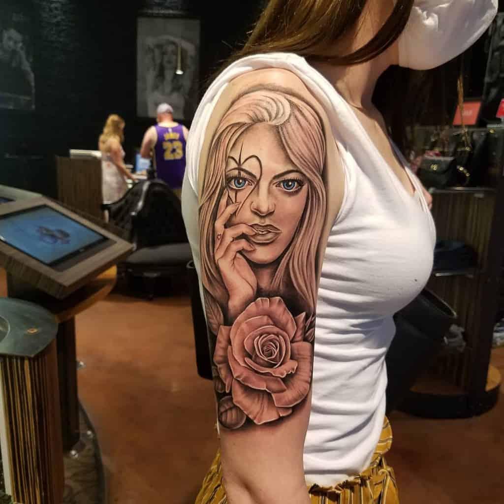Shoulder-Half-Sleeve-Tattoos-For-Women-alexlozanotattoos