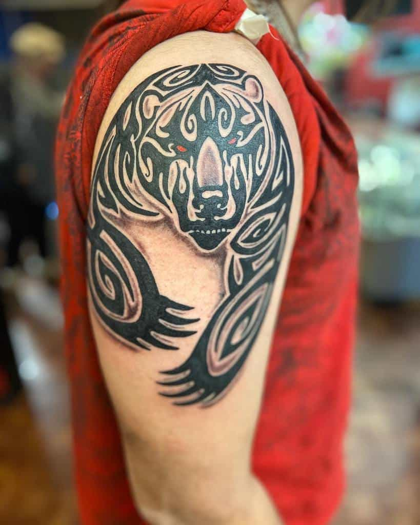 Shoulder Tribal Bear Tattoo bentattooed