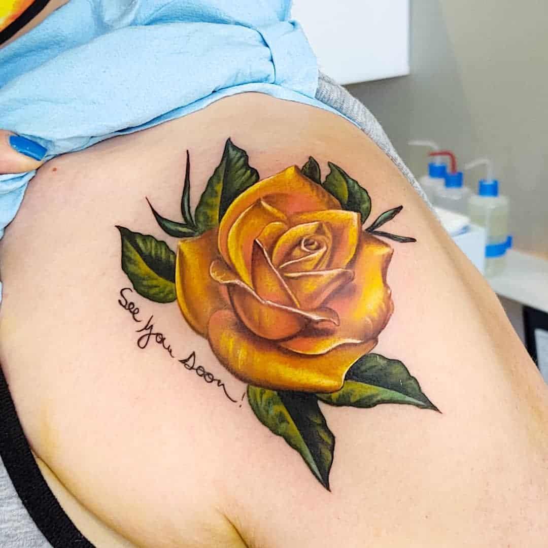 Shoulder Yellow Rose Tattoo -savanna_hamiltime