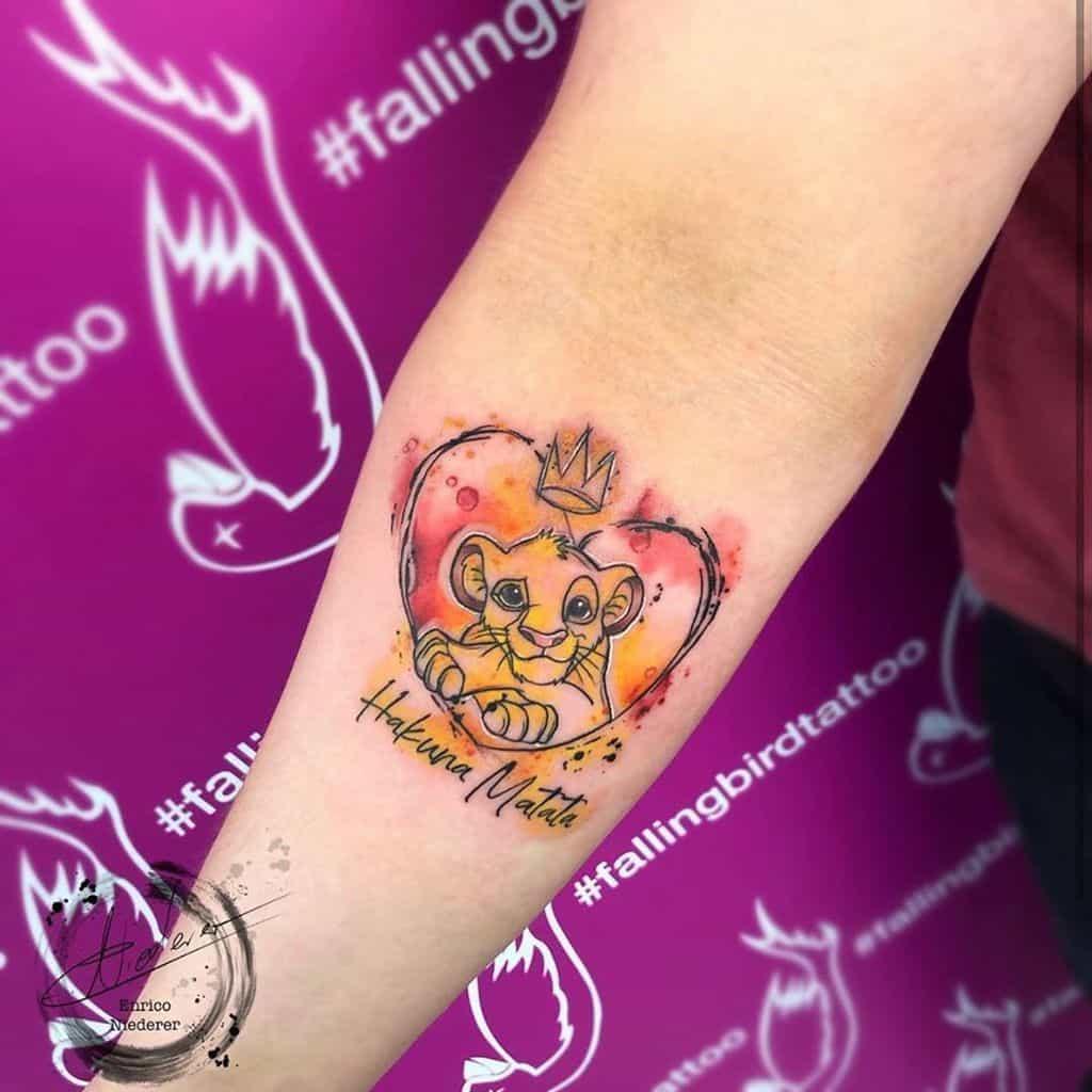 Simba Watercolor Tattoo biancarockermaus
