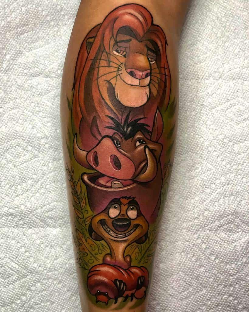 Simba With Timon & Pumba Hakuna Matata Jesusma Tattoo Oficial