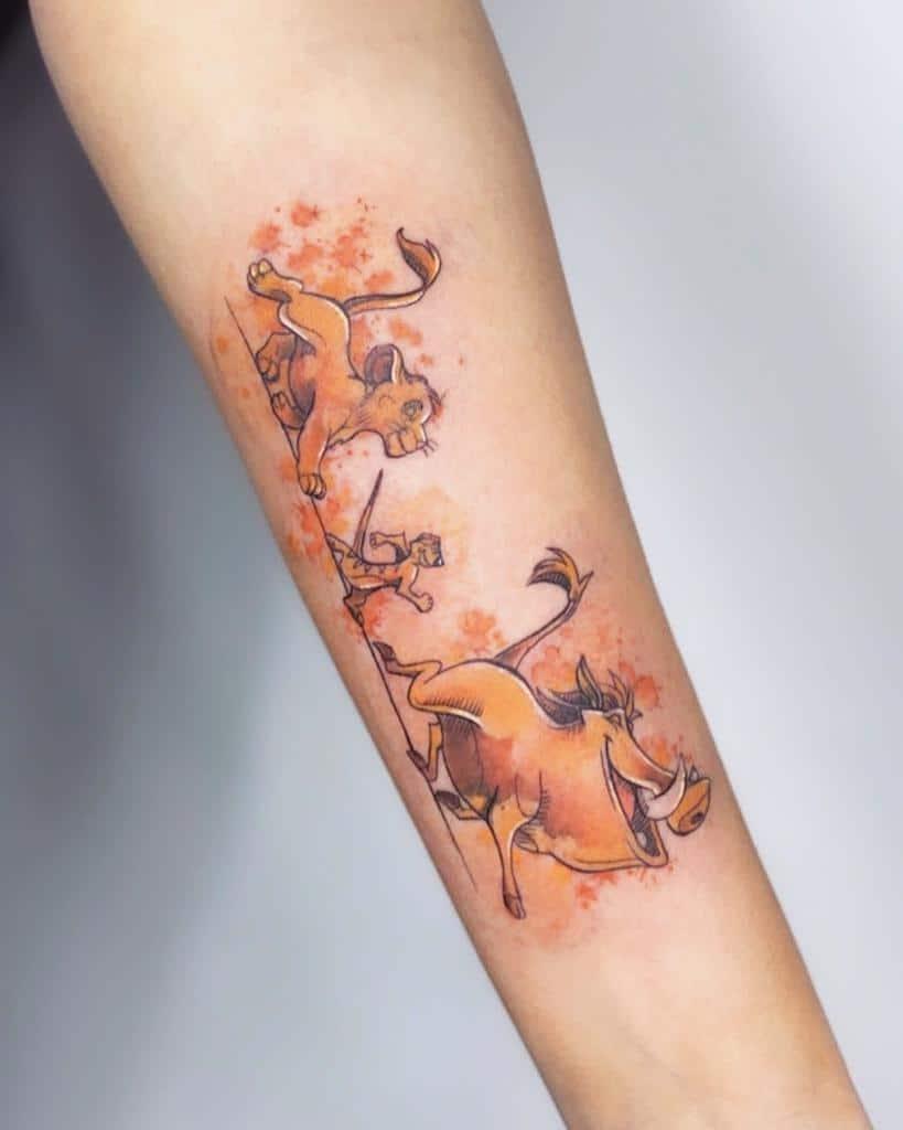 Simba With Timon & Pumba Hakuna Matata Misha.tattoo