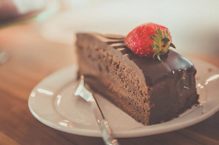 Slice Of Chocolate Cake On Plate