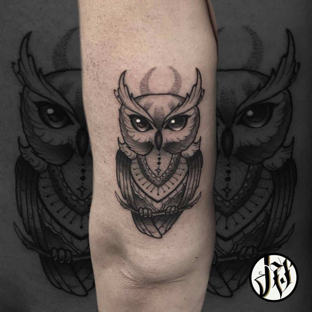 Small Black Owl Tattoos josevillasanatattoo