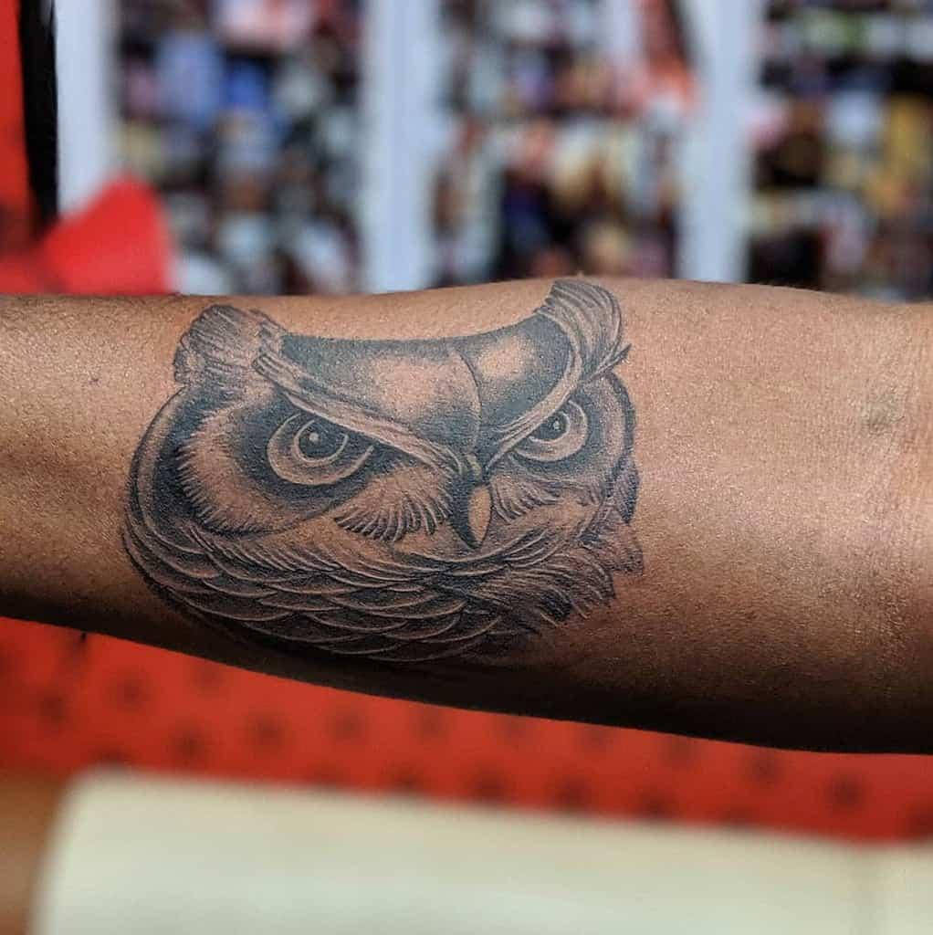 Small Black Owl Tattoos luckylamztattoo