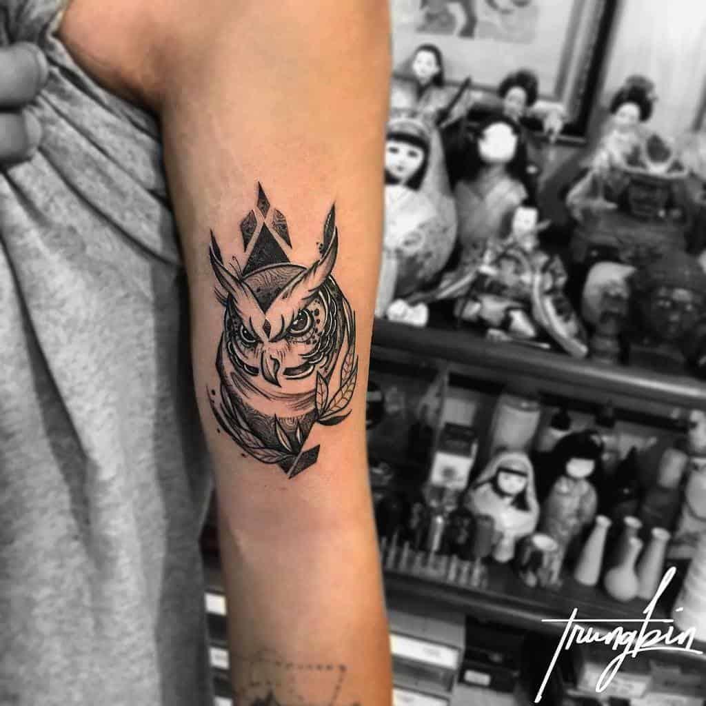 Small Black Owl Tattoos rungbin.kp