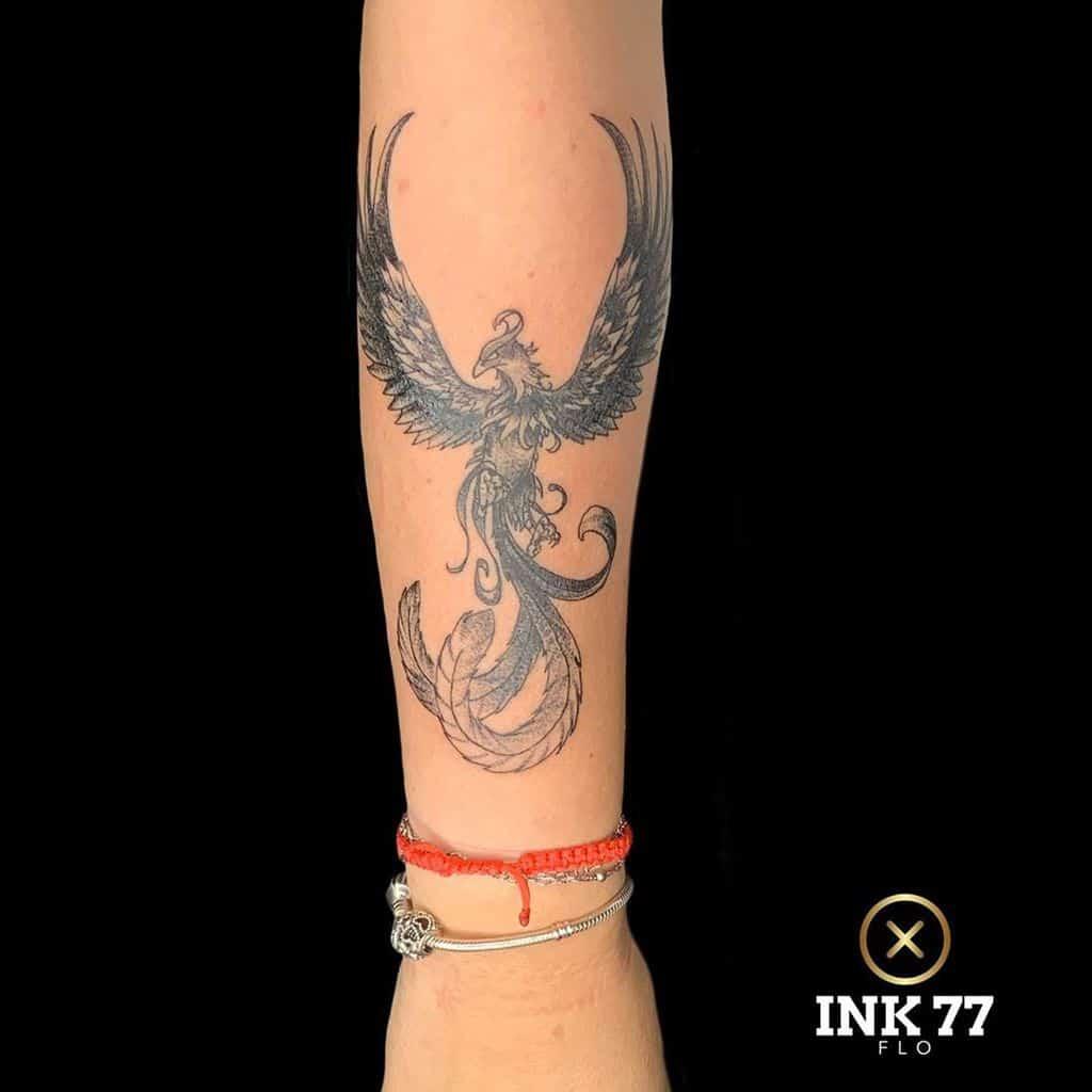 Small Black Phoenix Tattoos flo.tattoos